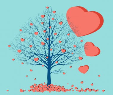 Hearts falling from a tree