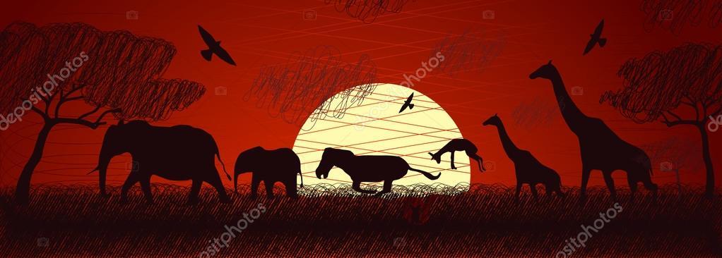 Africa safari animals vector