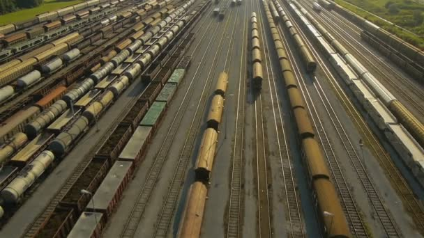rückwärtige Luftaufnahme des Güterzugdepots