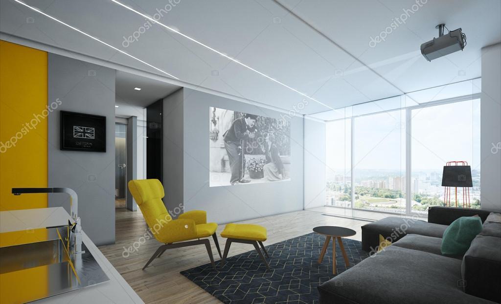 Interieur woonkamer appartementen in de stijl van het minimalisme