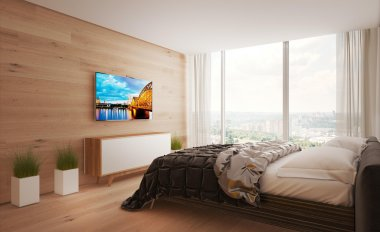 Interior bed room apartments in the style of minimalism
