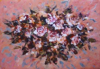 """Картина, постер, плакат, фотообои """"белые розы, картины ручной работы все"""", артикул 101409380"""