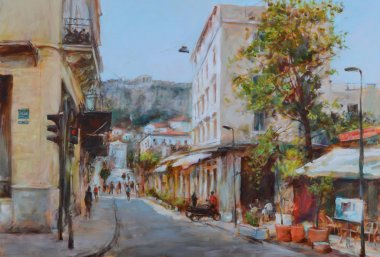 "Картина, постер, плакат, фотообои ""улицы афин, греция, картины ручной работы постеры портрет ретр москва"", артикул 105960538"
