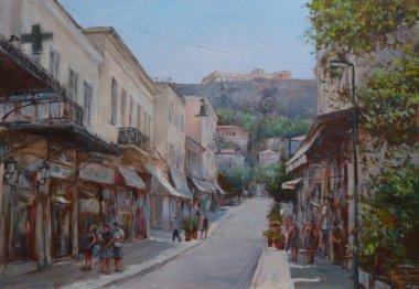 """Картина, постер, плакат, фотообои """"улицы афин, греция, картины ручной работы стиль"""", артикул 105961898"""