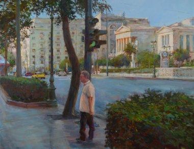 "Картина, постер, плакат, фотообои ""улицы афин, греция, картины ручной работы постеры портрет ретр москва"", артикул 105963646"