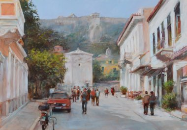 """Картина, постер, плакат, фотообои """"улицы афин, греция, картины ручной работы """", артикул 105964730"""