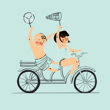 Two best friends ride on tandem bicycle. Flat design. Vector illustration. Isolated