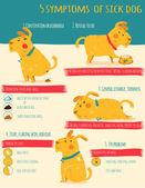 Pět simptoms nemocného psa. Infografika