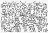 Vzor pro omalovánky s umělecky domy. Černá a bílá vzor