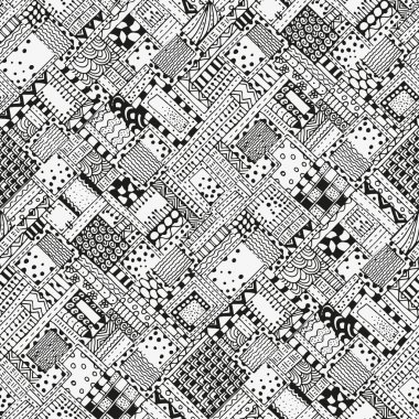 Seamless pattern with abstract figures. Black and white background.