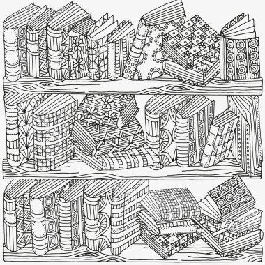 Artistic books, bookshelf, hand-drawn decorative elements