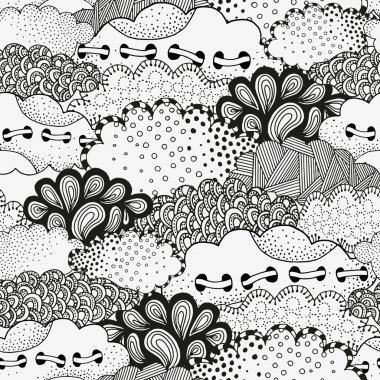 Art background with abstract clouds. Pattern for coloring book.
