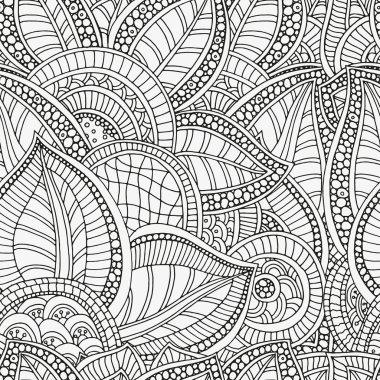 Pattern for coloring book. Ethnic, floral, retro, doodle, tribal design element.