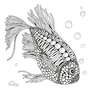 Black and white hand drawn cute fish