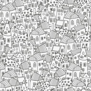 Pattern for coloring book with artistically houses.Black and white pattern