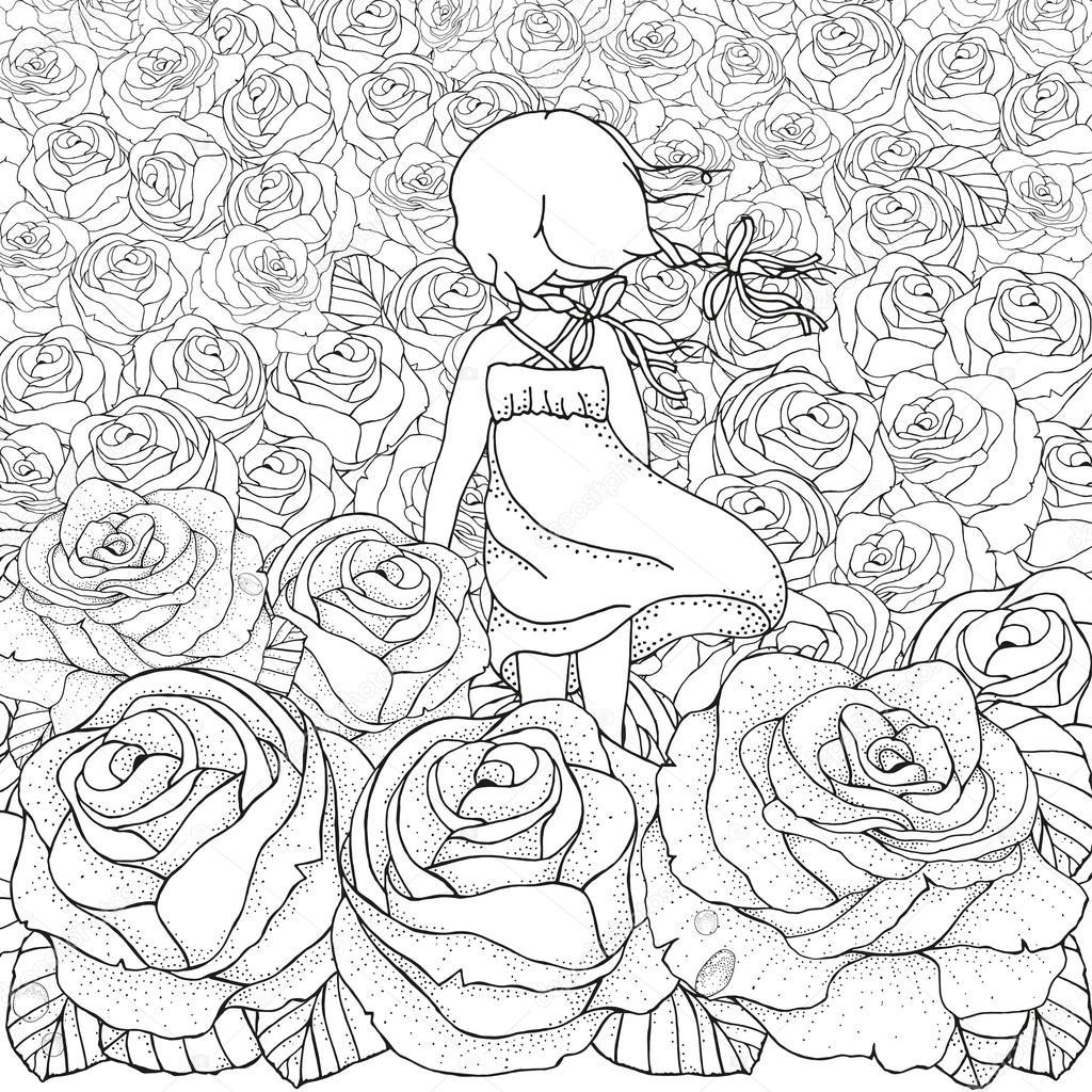 塗り絵のパターン女の子だけ多くのバラ ストックベクター Imhope