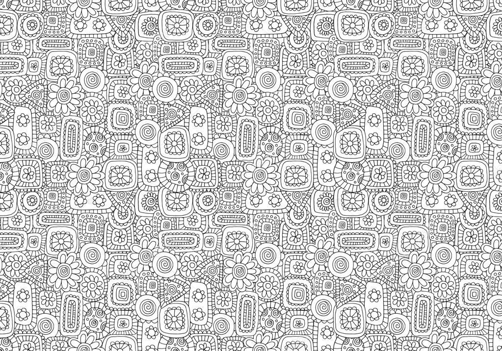 De patrones sin fisuras para colorear el libro con flores y figuras ...
