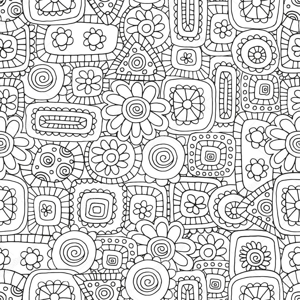 Boyama Kitabı Için Desen Etnik çiçek Retro Doodle Aşiret