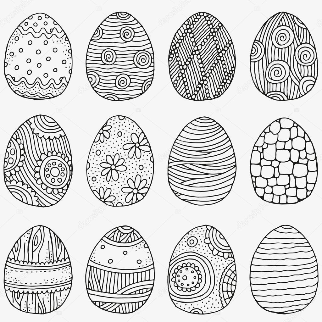 Pattern With Easter Eggs Black And White Pattern Stockvector