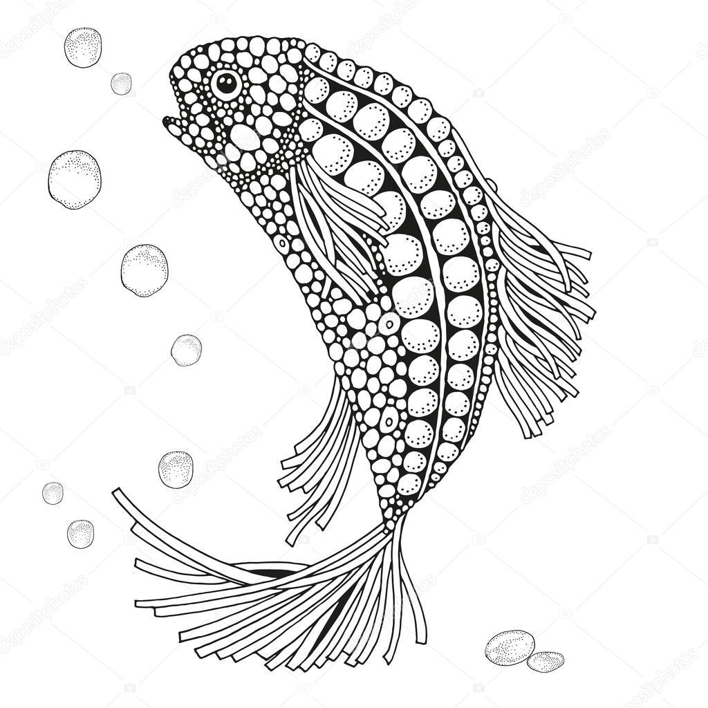 Нарисованные рыбы. Черный и белый рука нарисованные мило ...