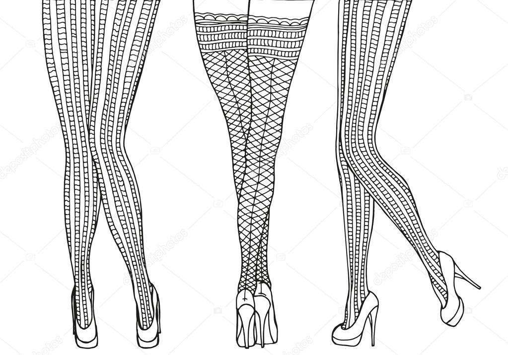 Piernas de mujer para colorear | Piernas mujer sexy en medias ...