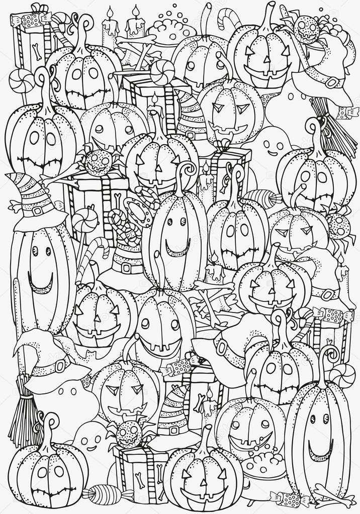 Símbolos de Halloween. Patrón para colorear libro — Vector de stock ...