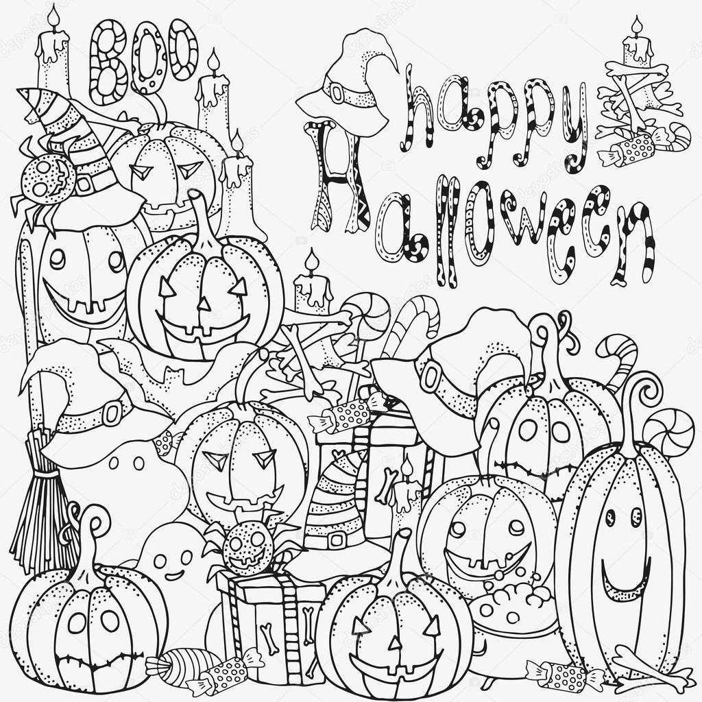 Simboli Di Halloween. Modello Per Libro Da Colorare