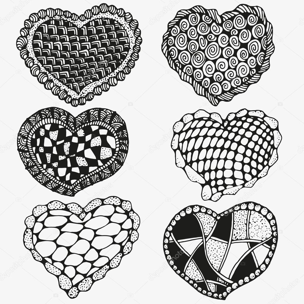 Boyama Kitabı Sanatsal Elle çizilmiş Kalp Için Desen Stok Vektör