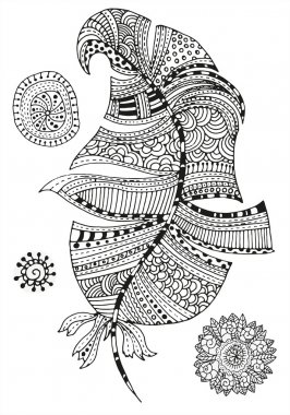 Feather and mandalas on a white background.