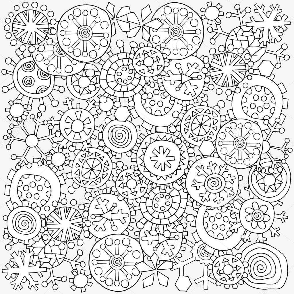 Pattern for coloring book. Christmas hand-drawn decorative elements