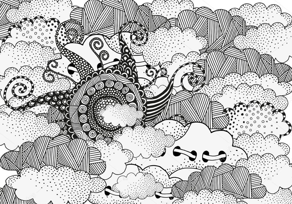 Artistically Sun. Hand drawn art mandala
