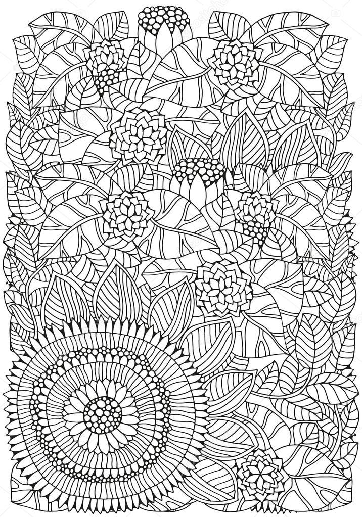 Motif pour livre de coloriage format a4 ethnique floral r tro griffonnage l ment de - Coloriage grand format ...