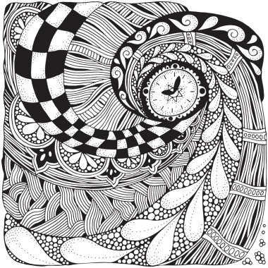 Fantastic watches, clock in zentangle style