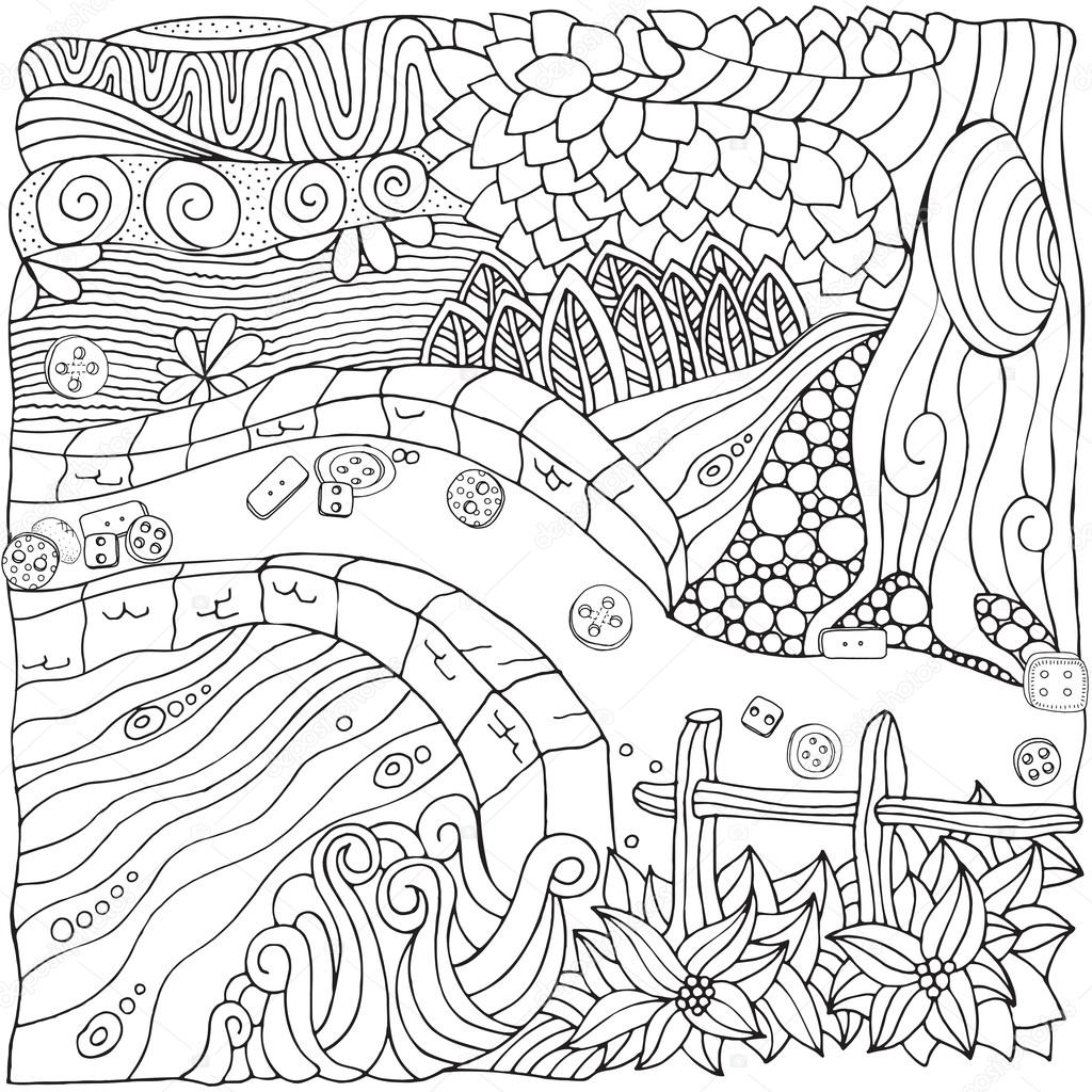 Fantastic rural landscape in zentangle style