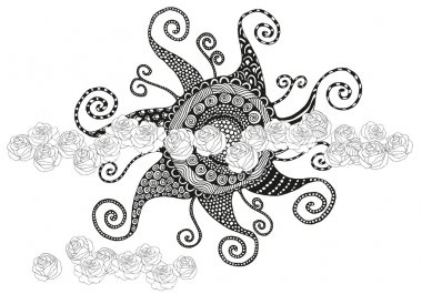 Sun in the clouds Artistically zentangle patterns