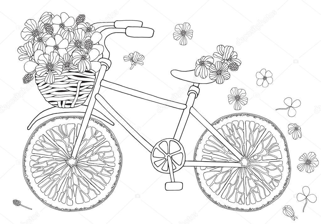 Bisiklet Ile çiçek Sepeti Stok Vektör Imhopeyandexru 113642966
