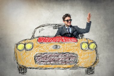 young businessman in drawn car