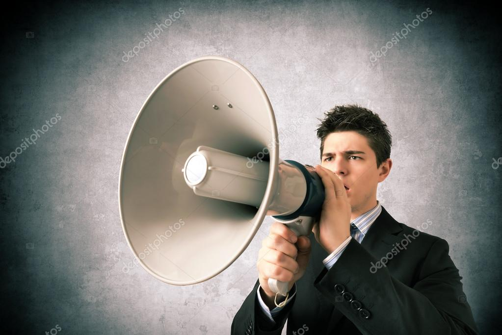 Young business with a megaphone