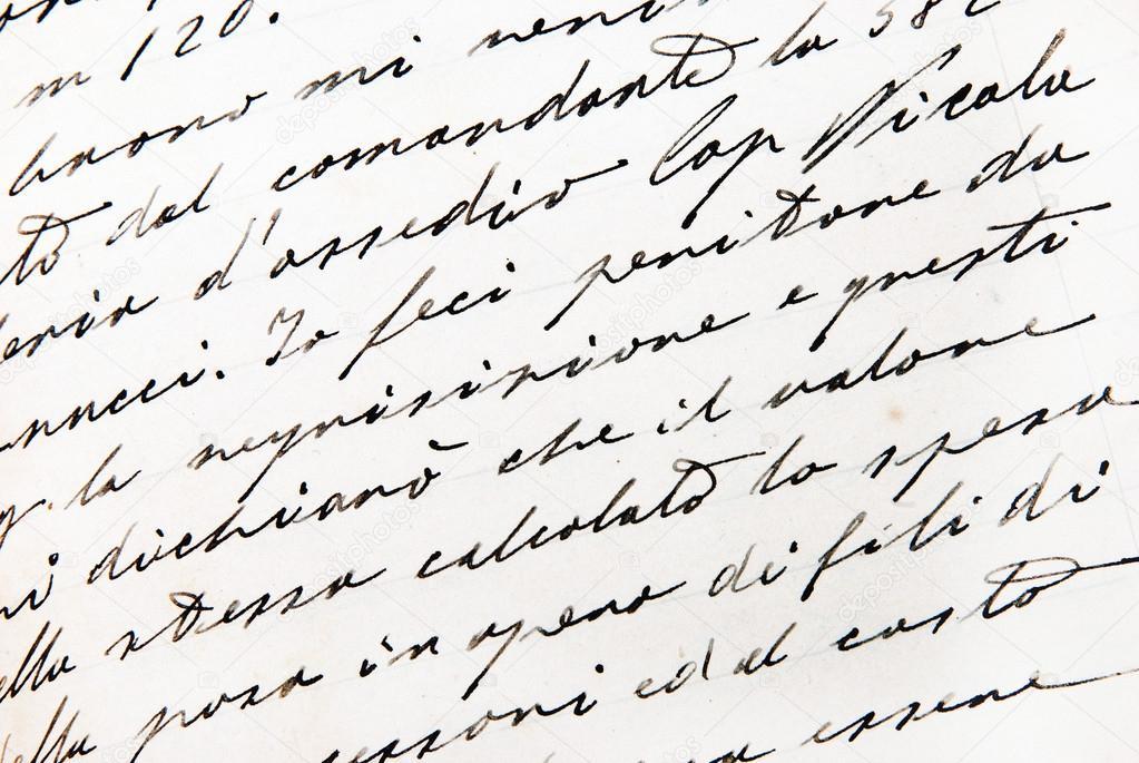 old handwriting close up