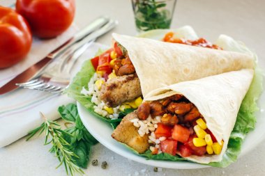 Tortillas with vegetables and herbs