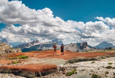 Mountaineers admiring Dolomites