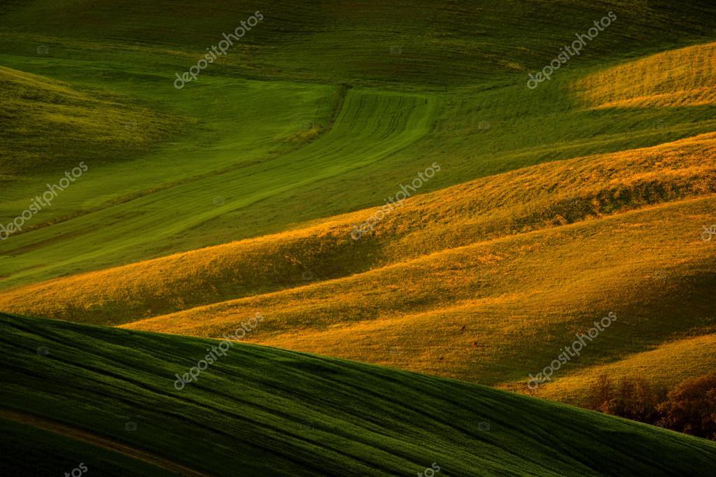Idyllic view of hilly farmland