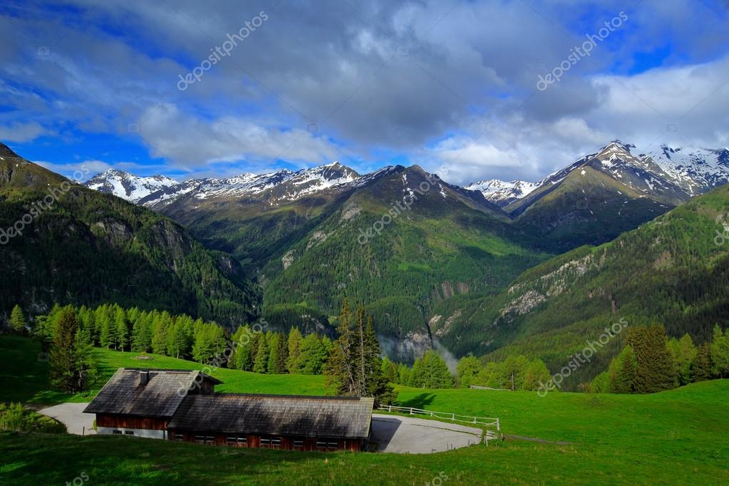 mountains with blue sky and clouds
