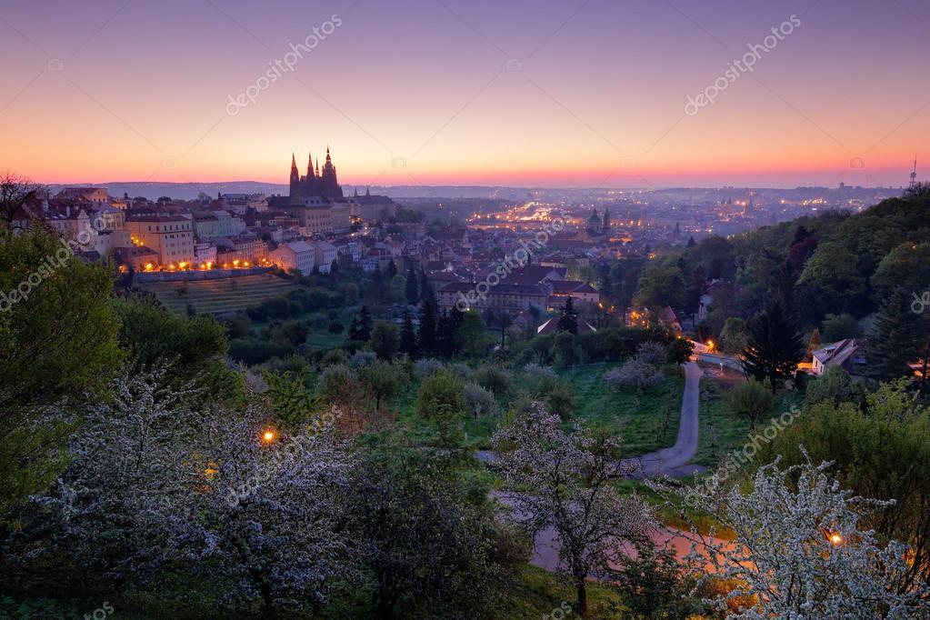 Фотообои сумерки утром в Праге