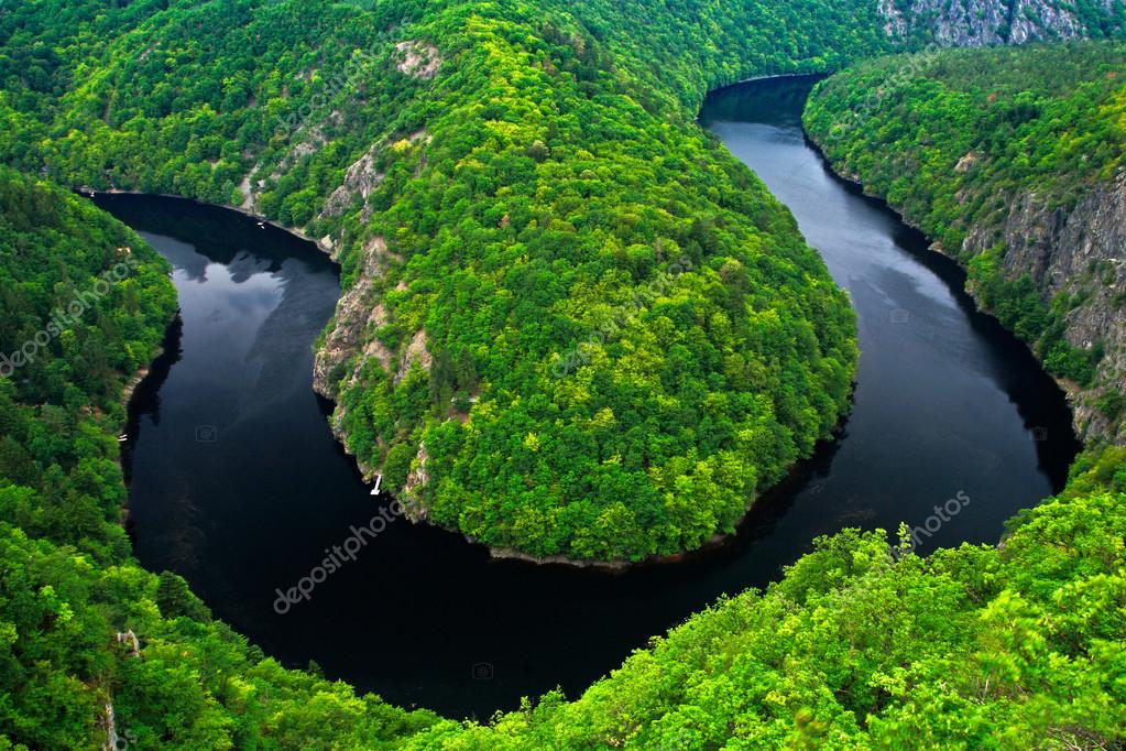 River canyon with water and forest