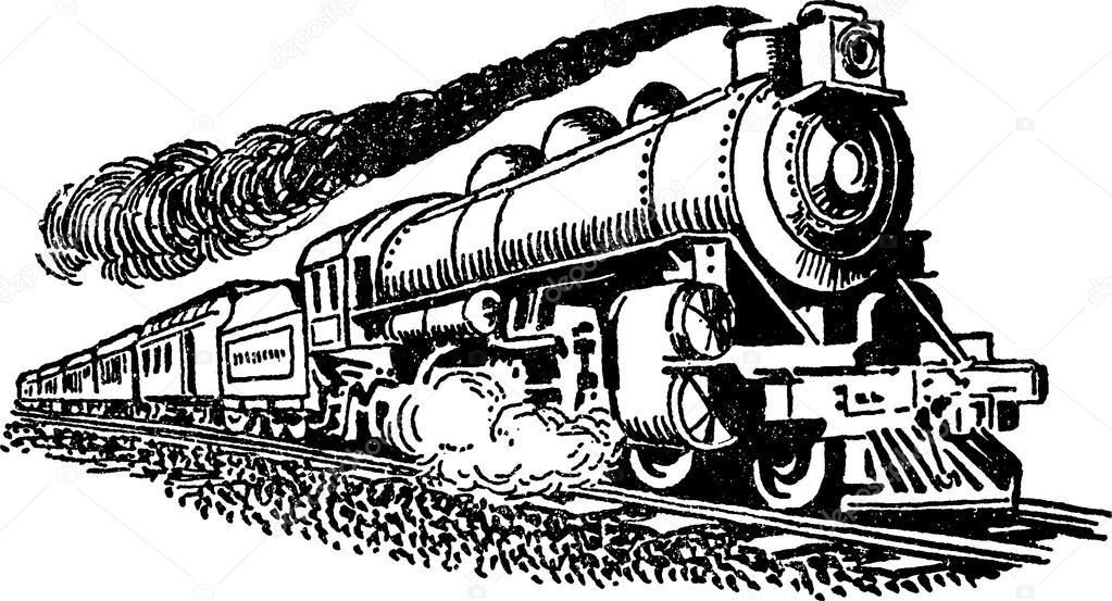 Vintage Illustration Steam Locomotive
