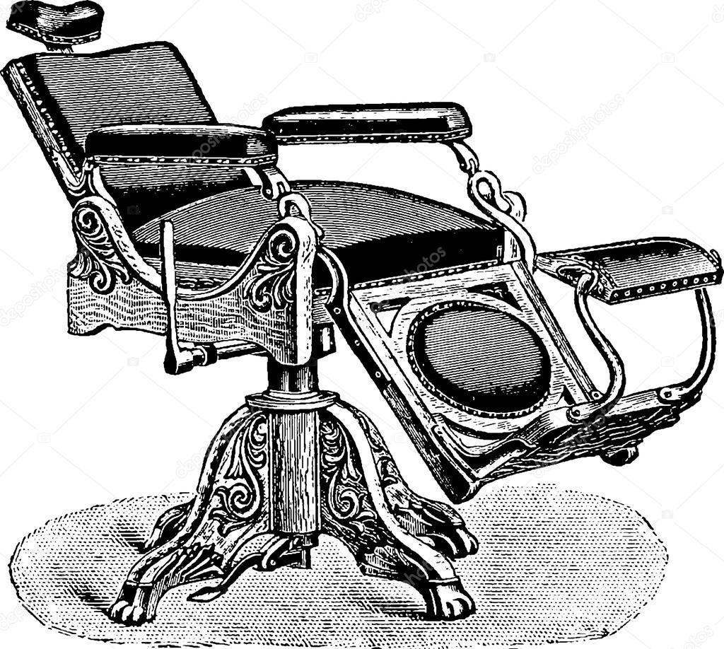 Vintage Picture Barbers Chair Stock Photo