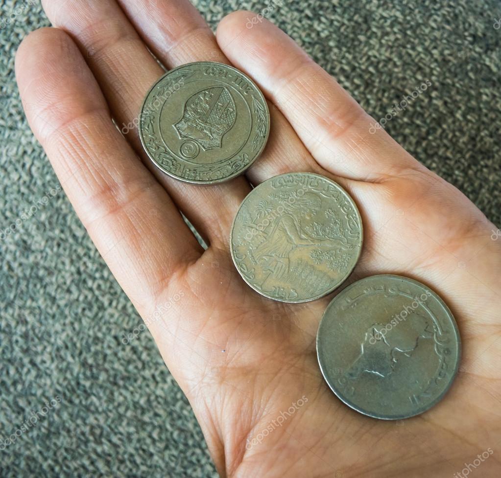 Drei Tunesische Münzen Auf Dem Womans Palm Stockfoto Qkeylist