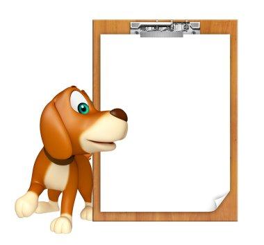 fun Dog cartoon character  with exam pad