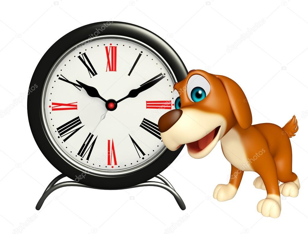 Lindo Personaje De Dibujos Animados De Perro Con Reloj